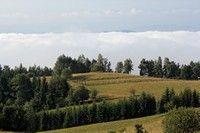 Mgła o poranku nad jeziorem, widok z Wielkiego Pola